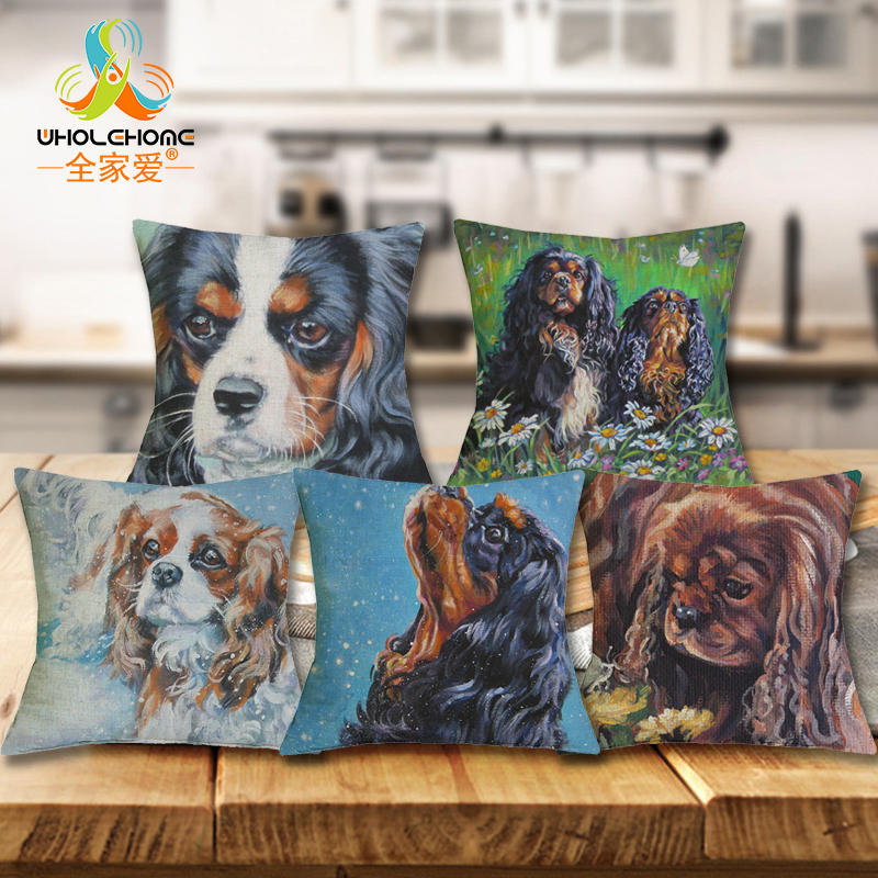 Cavalier king charles spaniel dog cushion covers sofa seat cushions home decor decorative linen - Enhance your home decor with fancy cushions ...