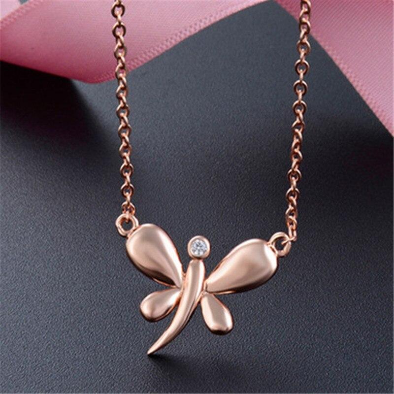 Collier papillon couleur or rose 925 pur argent pur de luxe pour les femmes colombiennes