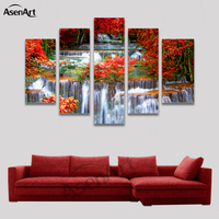 5 Panel Waterfall Painting Maple Leaf Tree Painting Modern Home on the Canvas Prints Picture for Living Room Unframed