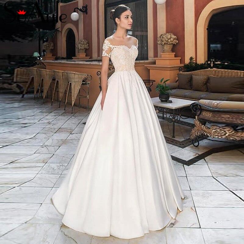 SoAyle Beach Wedding Dresses Plus Size Scoop Short Sleeves vestido de noiva Boho Summer Dress A-Line 2019 Wedding Dress Formal