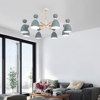 Nordic lighting living room chandelier wood personality modern minimalist style bedroom lamp restaurant light macarons chandelie