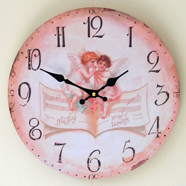 14 Inch Rimless Mute Round Wood Wall Clock Density Board Cute Angel ...