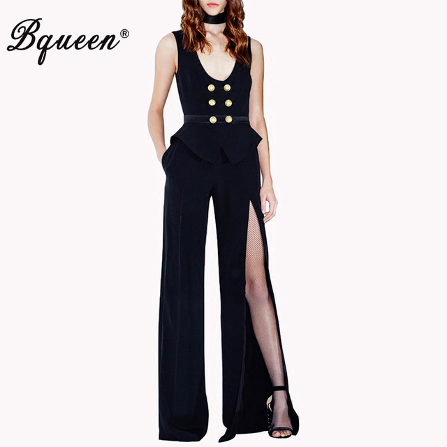09a1d908eff Bqueen 2017 New Black Sleeveless Jumpsuit With Double-breasted Button Long  Pants Split Trouser Wide