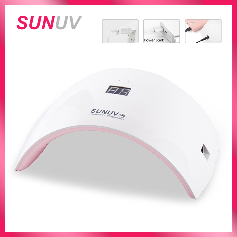 SUNUV SUN9s Nail Lamp 24W UV LED Light Nail Dryer med USB Laddkabel Professionell Manicure Lamp för Finger och Toenails