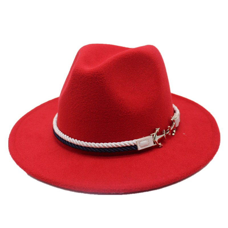 Seioum Spring Wide Brim Fedora Men Women Vintage Jazz Hats Fashion Stars Wool felt hat Unisex red Felt Bowler Trilby(China)