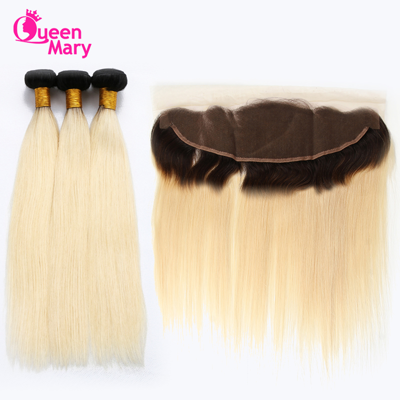 Queen Mary 1B/613 Bundles With Frontal Blonde Bundles With Frontal Closure Straight Hair Bundles With Frontal Closure Non Remy ...