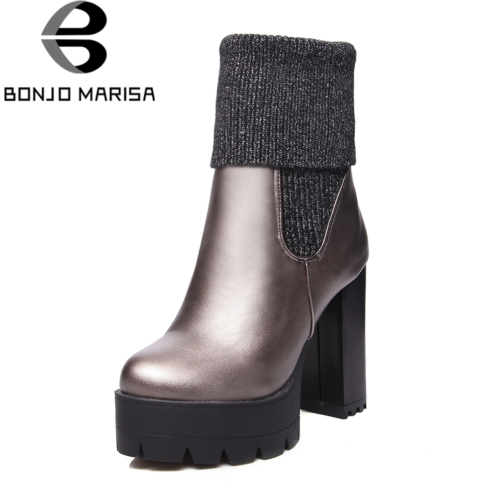 BONJOMARISA New Fashion Solid Square High Heels Hot Sale Platform Shoes Woman Casual Winter Boots Large Size 34-43 цена