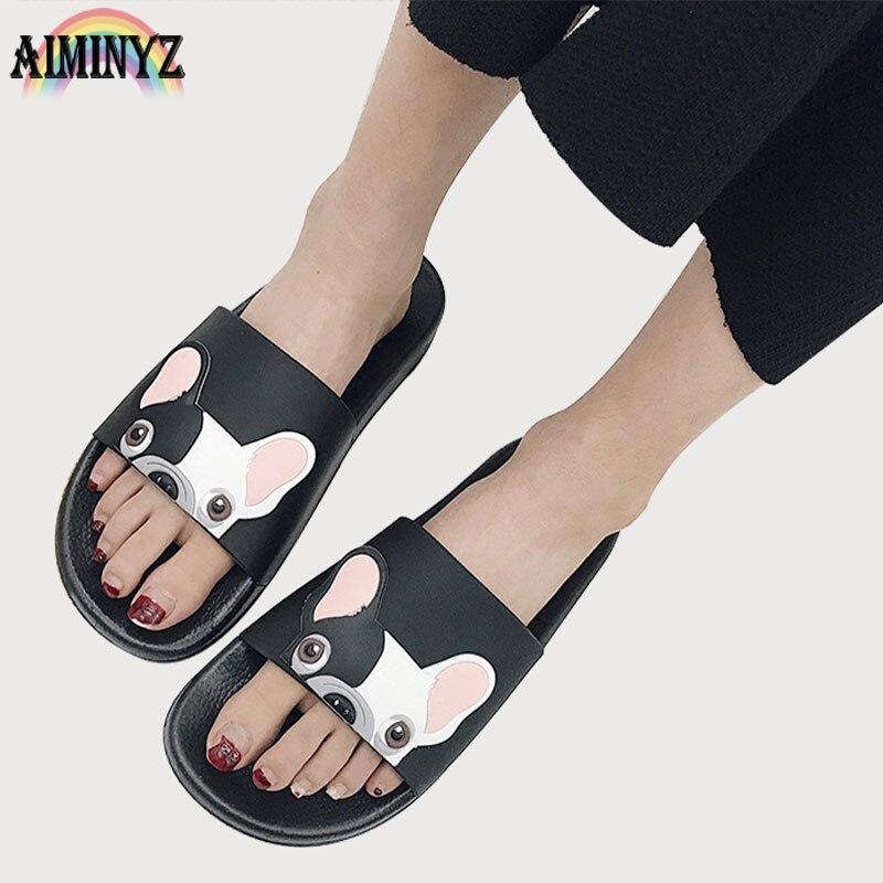 Mode Tier Bulldog Hausschuhe Sommer Sandalen Flip-Flops Strand Frauen Cartoon Schuhe Außerhalb Nette Lustige Bad Boden Zu Hause