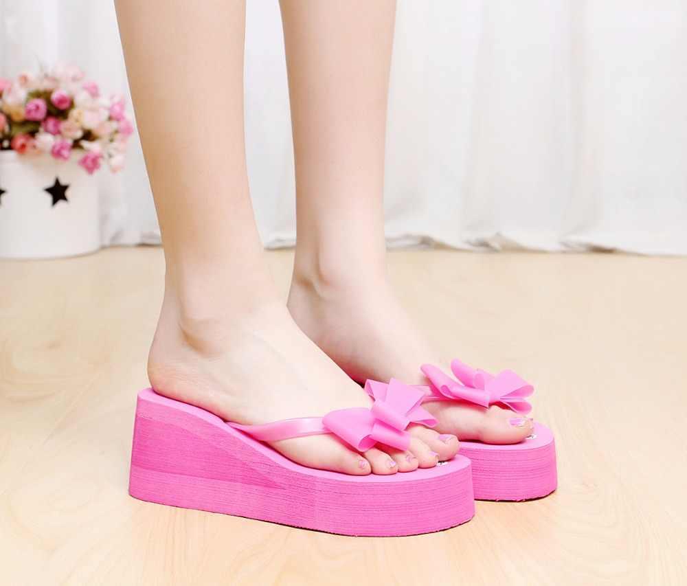 HOT! Mới Thời Trang Phụ Nữ Mùa Hè Cương Cao Gót Dép Đi Biển Cho Nơ Dép Nữ Giày Nữ Size36-40 Cho Sự Lựa Chọn