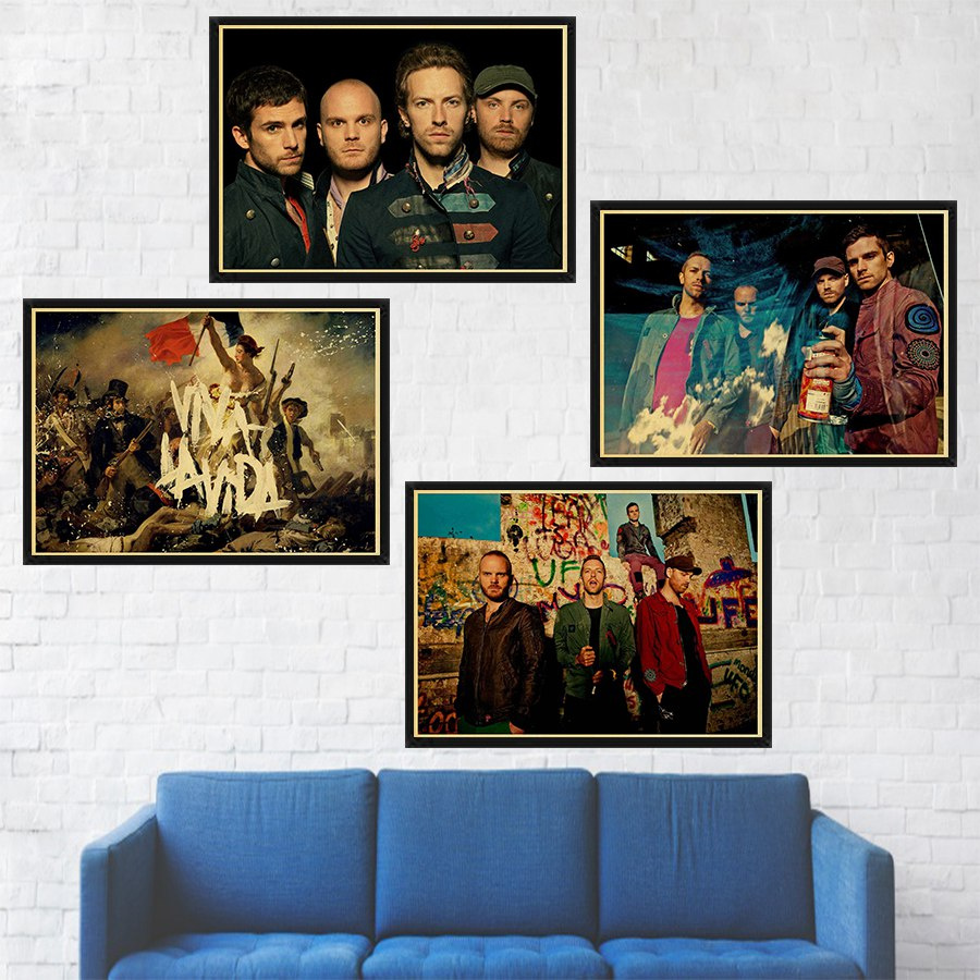 Rock Music Band Coldplay Poster Bar Living Room Wall Decor High Quality Painting Wall Poster Wallpaper image