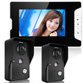 7 Inch Video Door Phone Doorbell Intercom Kit 2-camera 1-monitor Night Vision
