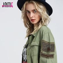 Jastie Bomber Jacket Embellished Military Shirt Jacket Luxe Bead Long Sleeve Coats Allover Trim Hem Pockets Winter Women Jacket