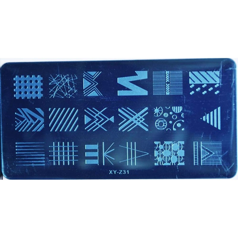 1Pc Quality Stainless Steel Rectangle Nail Art Stamp Image Plate Geometric Stamping Plates DIY Nail Tools for Nails Salon XYZ029 in Nail Art Templates from Beauty Health
