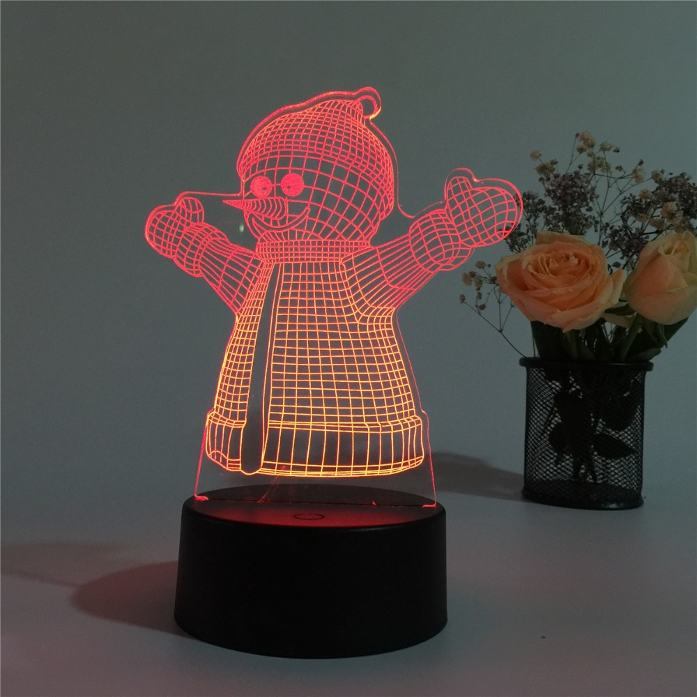 Christmas Novelty Gift Snowman 3D LED Lamp Night Light for Children Room USB Charge Table Lamp Home Decor Luminaria Sleep Lamp 3d led night light gear love heart usb touch switch steampunk style heart table lamp luminaria de mesa home decor gift toy