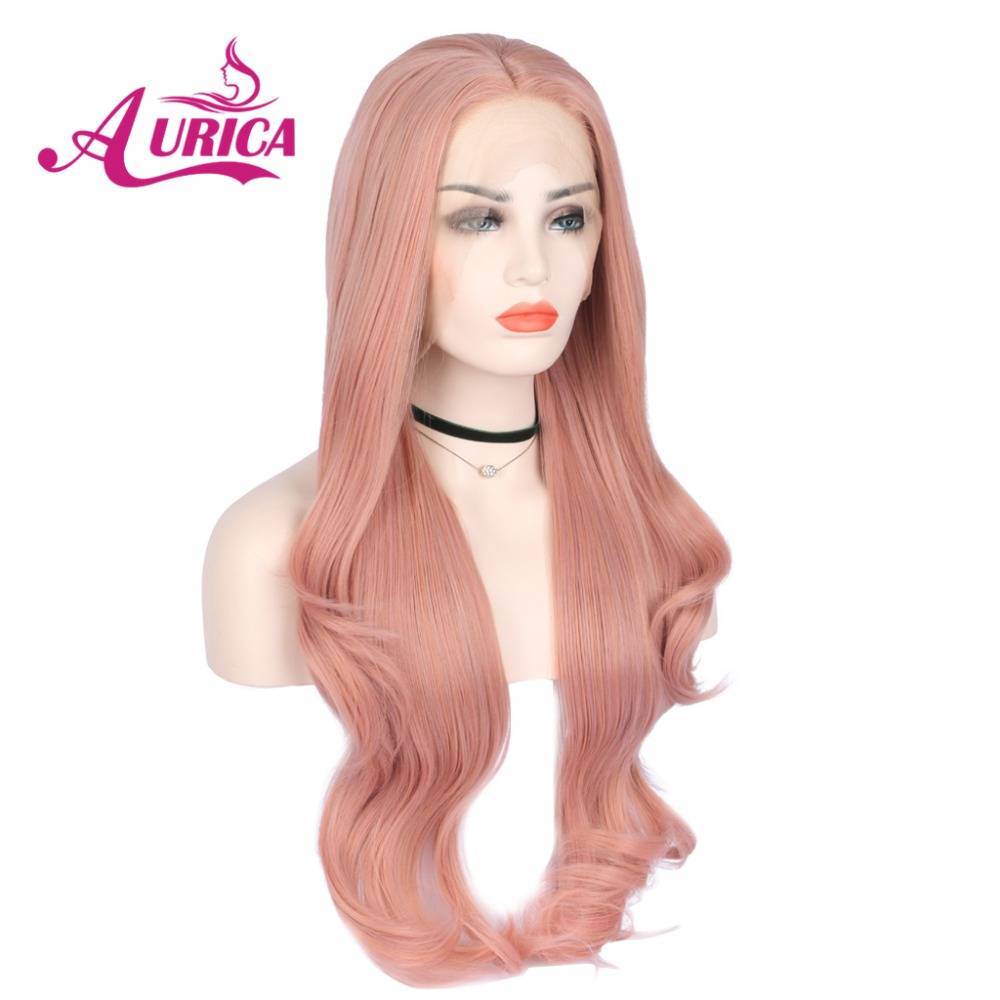 Aurica mixed peach pink natural wave synthetic lace front wigs with middler parting natural pink heat resistant fiber hair