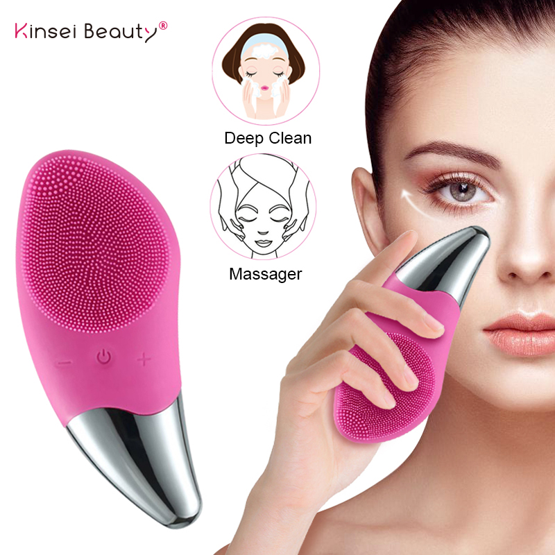 Electric Facial Cleansing Brush Deep Cleaning Face Ultrasonic Silicone Beauty Eye Massage Face Cleansing Instrument USB Charger