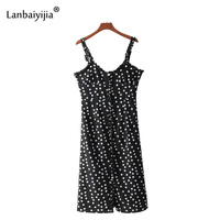 Lanbaiyijia Summer new Black bottom white wave point Black fungus edge Spaghetti Strap dress for Women dress Casual Dress S M L
