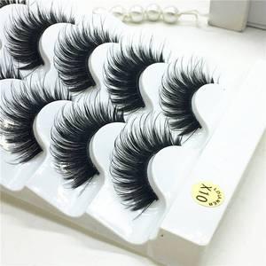 Image 2 - 5 пар искусственных 100% норковых угловых густых накладных ресниц синие Черные длинные толстые крестовые ресницы ручной работы для макияжа