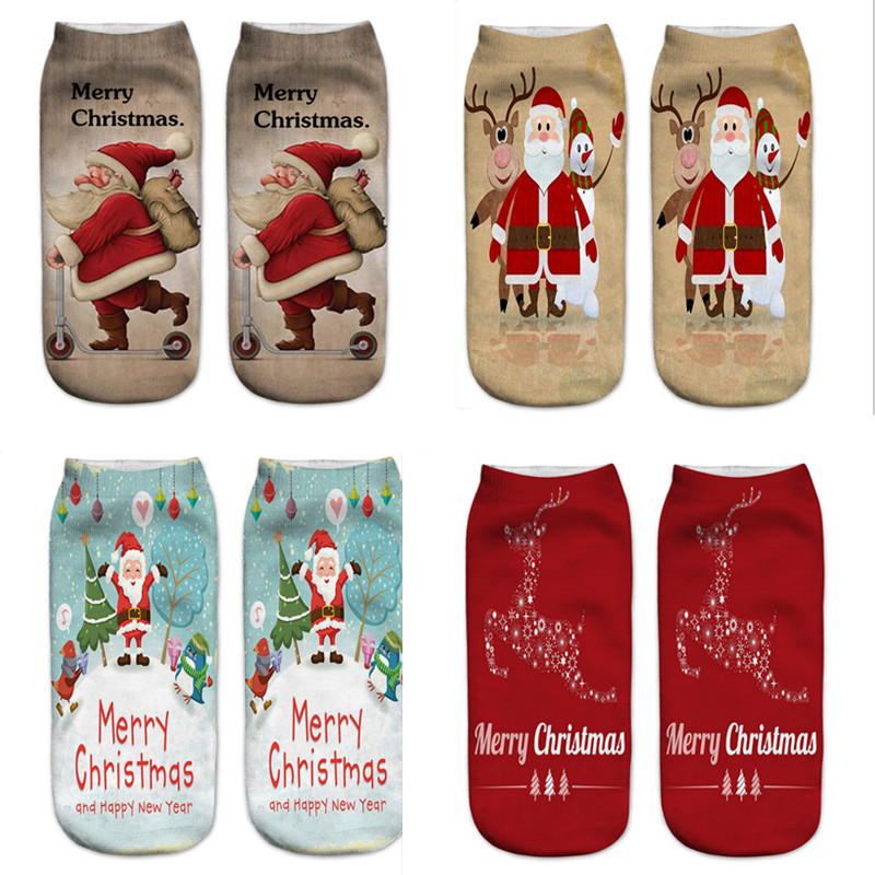 Creative 3D Printing Cartoon Santa Claus Snowman Christmas Day New Year Socks Xmas Gift Ankle Calcetines Women Socks