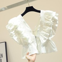 White Ruffle crop chiffon blouse top women blusas mujer de moda 2019 v neck korean style shirts office ladies tops camisas mujer