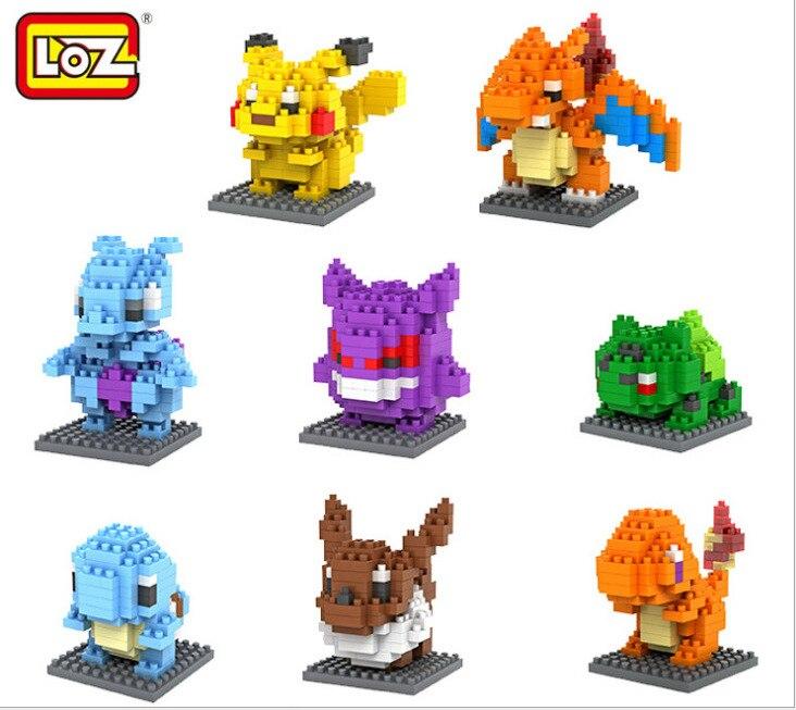 Anime Pokemon Bulbasaur Gitmek Rakamlar Model Oyuncaklar Pikachu Charmander Squirtle Mewtwochild Eevee Çocuk Hediye 9 Tipi Yapı Taşları
