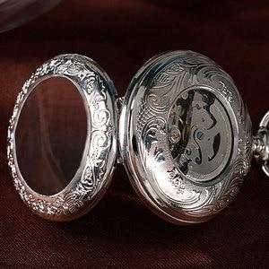 Image 5 - Xmas Gift Luxury Watch Men Relogio Digital Steampunk Pocket Watch Clock Vintage Self Wind Stylish Gray Dial Automatic Mechanical