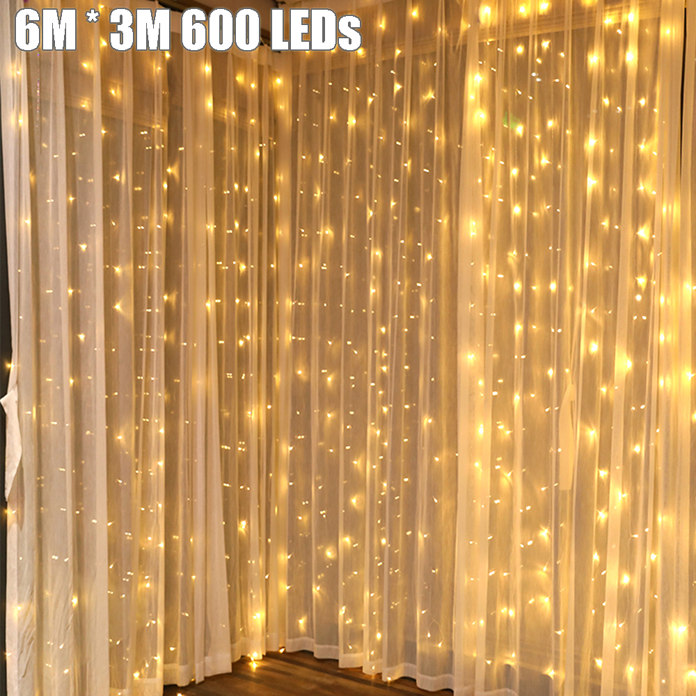 6 M * 3 M 600 Cadena de luces LED de jardín de vacaciones al aire libre luces de hadas Led cortina guirnaldas tira decoración de fiesta de boda 110 V 220 V JQ