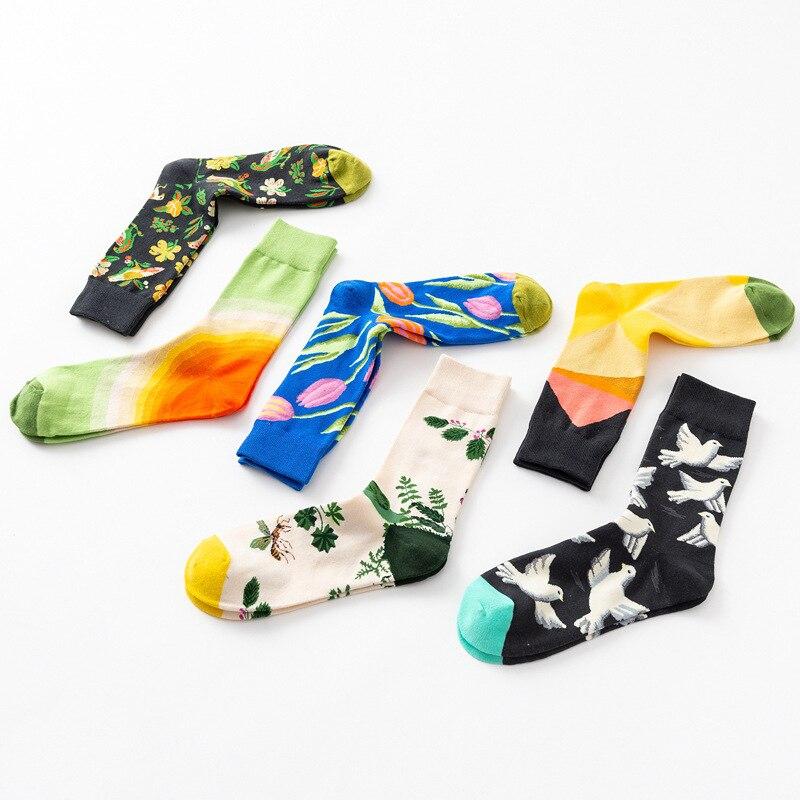 37-45 Creative   Socks   Women Cotton Flower And Bird Sketch Print   Socks   Anti-friction Keep Slim Girl Mid   Socks   Harajuku