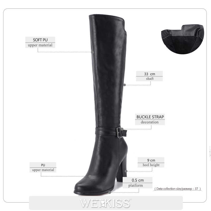 WETKISS Yüksek Topuklu Kadın Çizmeler Sonbahar Çizme Yuvarlak Ayak Zip Kısa Peluş Ayakkabı Moda Diz Yüksek Kadınsı Ayakkabı Büyük Boy 34-43