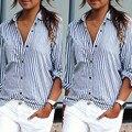 Blusas Femininas 2016 Spring Women Blouses Fashion Long Sleeve Lapel Striped Shirt Loose Casual OL Work Tops Plus Size XL