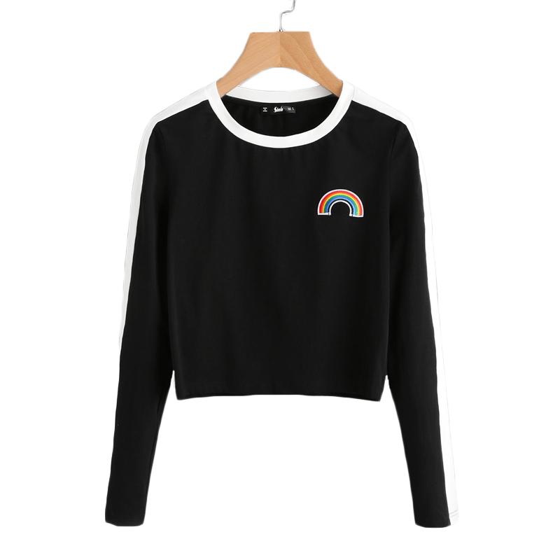 94a2b4db55e ROMWE Rainbow Patch Cute T shirt Contrast Panel Crop Top 2019 Women ...