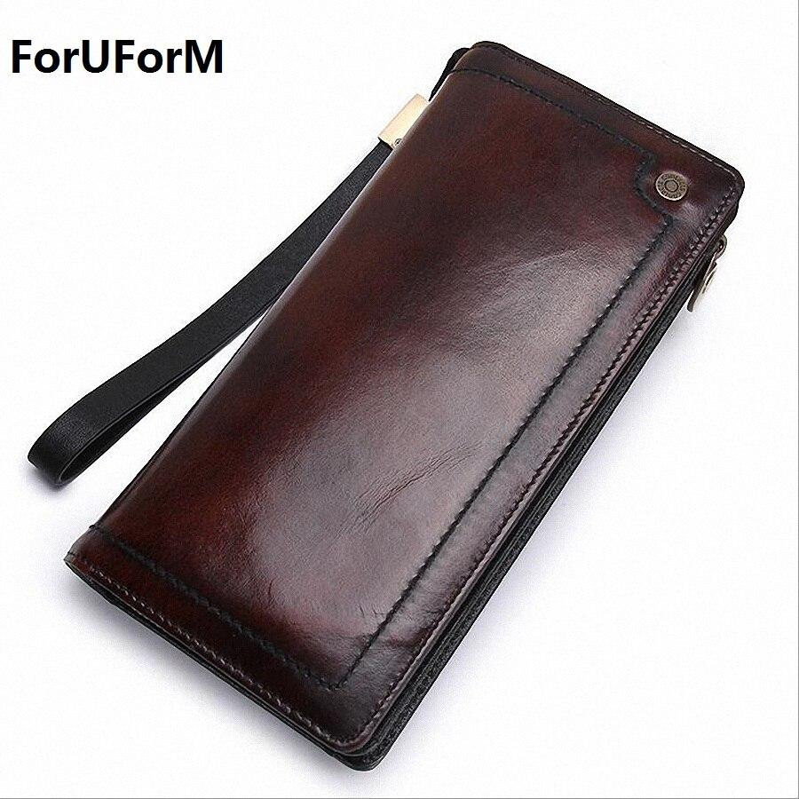 все цены на 100% Genuine Leather Men Wallets 2016 Vintage Famous Brand Design Card Holder Purse Bag Coin Pockets Zipper Long Clutch LI-1456 онлайн