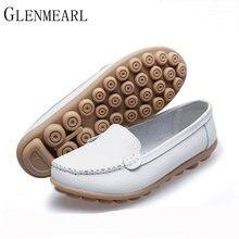 ce723105c 2019 Couro Genuíno Das Mulheres Planas Sapatos de Marca Nova Enfermeira  Sola Muscular Vaca Mulheres Sapatos Peas Sapatos Branco .