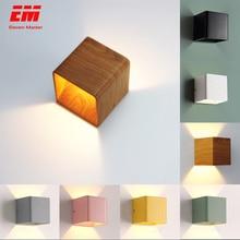 الخشب الحبوب وحدة إضاءة Led جداريّة مصباح 10*10*10 سنتيمتر 5 واط Mordern الحائط أضواء الألومنيوم الجدار الشمعدان مصباح يعمل للأعلى والأسفل مصباح غرفة النوم ZBD0009