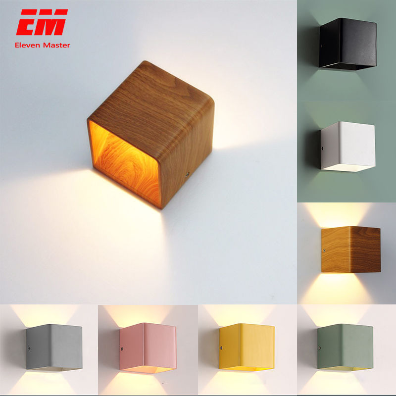 Wood Grain Led Wall Lamp 10*10*10cm 5W Mordern Wall Mounted Lights Aluminum Wall Sconce Up Down Light Bedroom Lamp ZBD0009