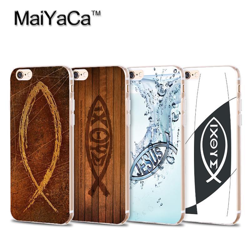 MaiYaCa Christian Fish <font><b>Symbol</b></font> Transparent TPU Soft <font><b>Cell</b></font> <font><b>Phone</b></font> Protective Cover For iPhone 4s 5s 6s 7 7plus case