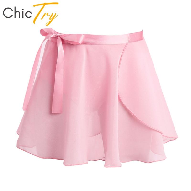 ChicTry Kids Girls Ballet Tutu Dance Chiffon Skirt Basic Mini Pull-On Wrap Skirt With Waist Tie Ballet Latin Practice Dance Wear