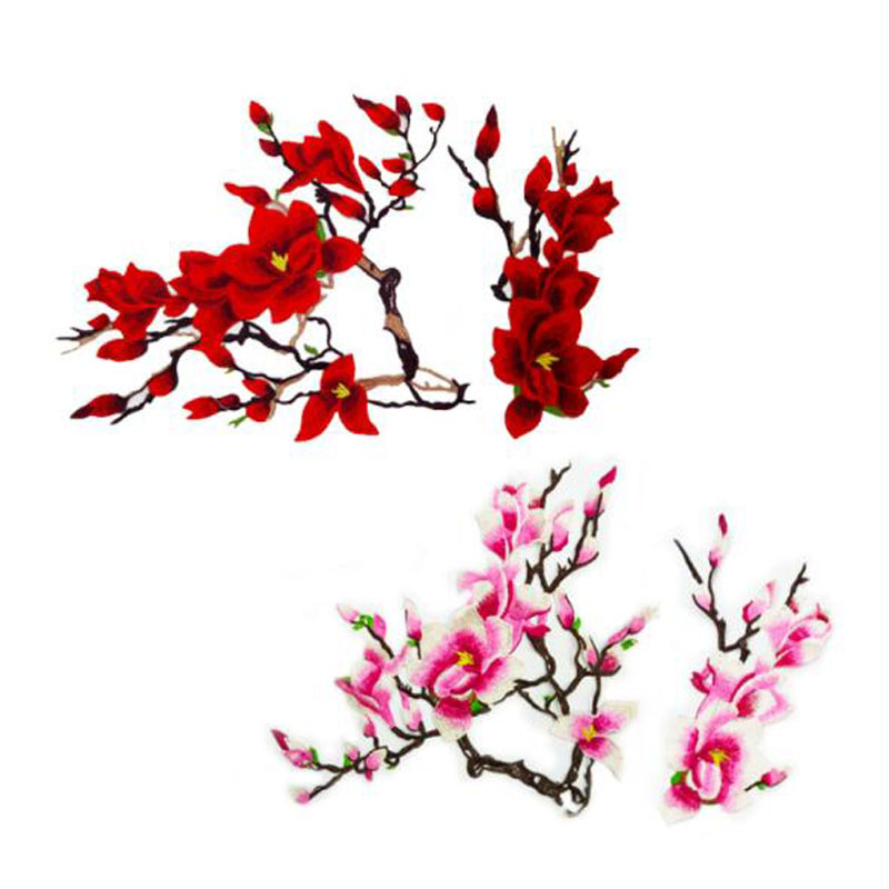 1 Set Asian Cherry Blossom Flower Sew on Embroidered Appliques Patch Sewing Applique Embroidery Diy Accessories fabric|Patches| - AliExpress