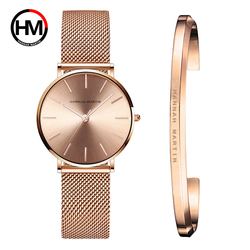 Stainless Steel U-shape Bracelet Watches Set Female High Quality Quartz Watch Luxury Women Watch Bangle Set For Valentine's Gift