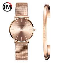 Stainless Steel U-shape Bracelet Watches Set Female High Quality Quartz