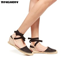 TINGHON Fashion Women Flats Ankle Strap Hemp Espadrille Fisherman Shoes Loafers Lace-up Summer Flat