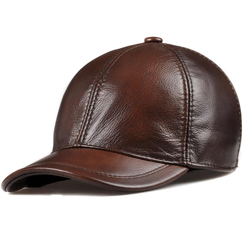 SVADILFARI Wholesale 2018 Spring Genuine Leather Adjustable Solid Deluxe  Baseball Ball Cap brand new men s hats c7c13e081396