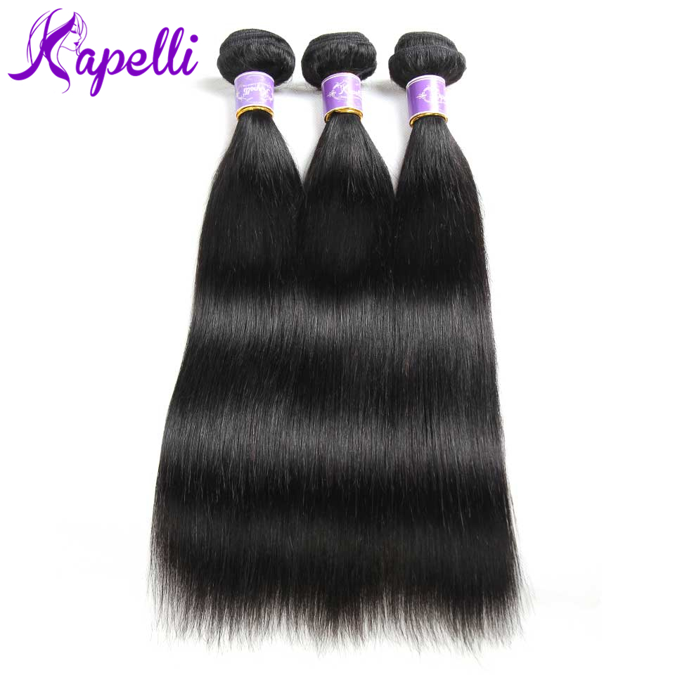 Kapelli Straight Human Hair 3 Bundles Deals Brazilian Hair Weave Bundles Natural Color Non-Remy Hair Extension Free Shipping