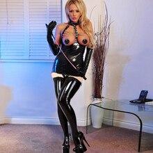 Seksowna z wiązaniami PU Faux Leather Shiny Chain sukienka punk Zipper otwórz biust body lateksowe wyglądające na mokre erotyczne bielizna dla kobiet F47
