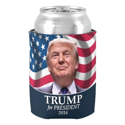 Popular Donald Trump Photo President 2016 Can Cooler Stylish Neoprene Beverage Insulator Drink Insulator Special Beer Holders