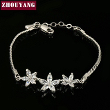 ZHOUYANG Top Quality ZYH019 Three White Flowers Silver Color Bracelet Jewelry Austrian Crystals Wholesale