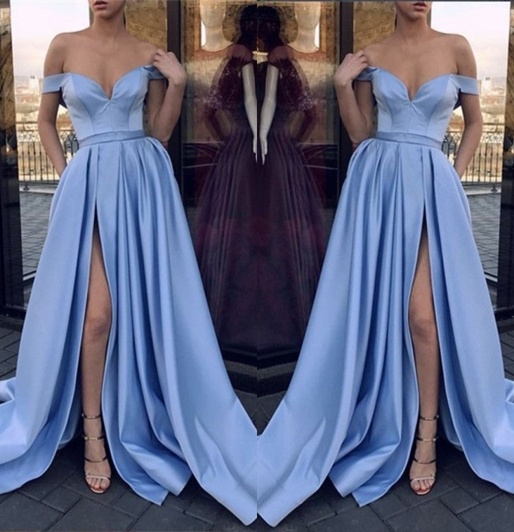 Sweetheart Off The Shoulder Satin Pleated Court Train Side Slit Mermaid   Bridesmaid   Gown Sexy   Bridesmaid     Dresses   Fast Shipping