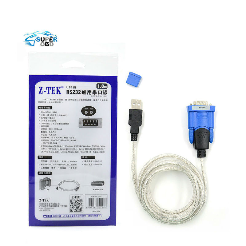 Prix pour Meilleur prix Z-TEK USB1.1 À RS232 Convertir Connecteur Z-TEK USB Z TEK USB1.1 À Rs232 OBD2 Câble et Connecteur