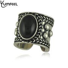 Yumfeel-anillos de cuentas bohemias, joyas bohemias Vintage, diseño único, puño negro, nepalés