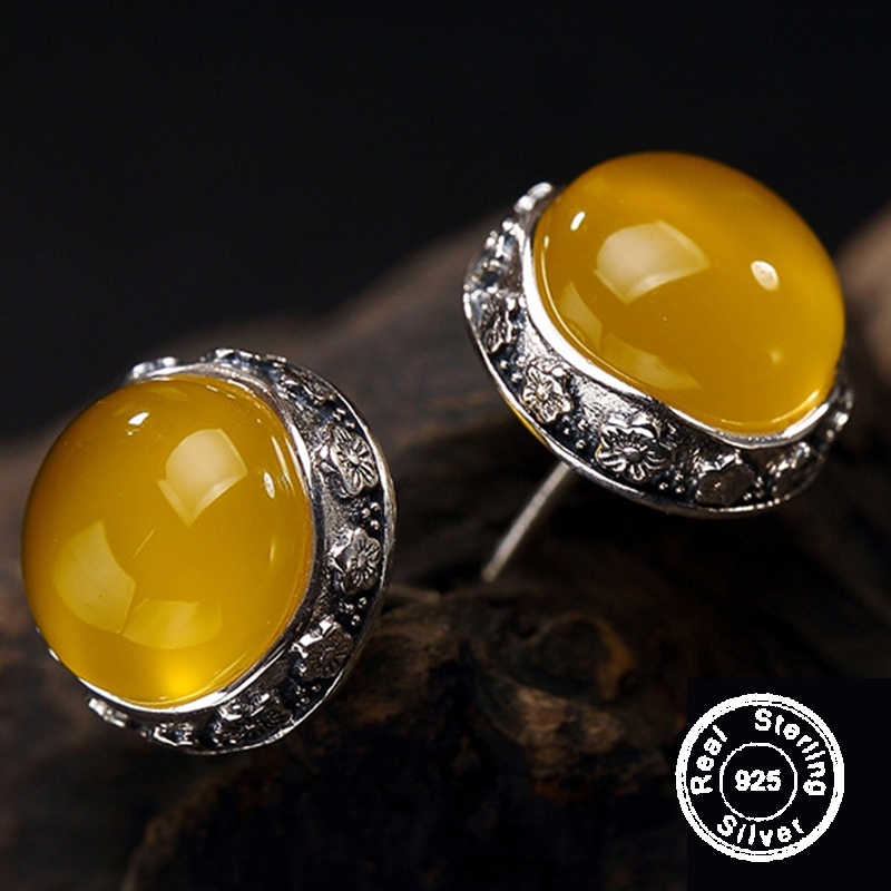 28c0f0284 NOT FAKE S925 Fine Poland Earrings 925 Sterling Silver Women Handmade  Natural Retro citrine Amber copal